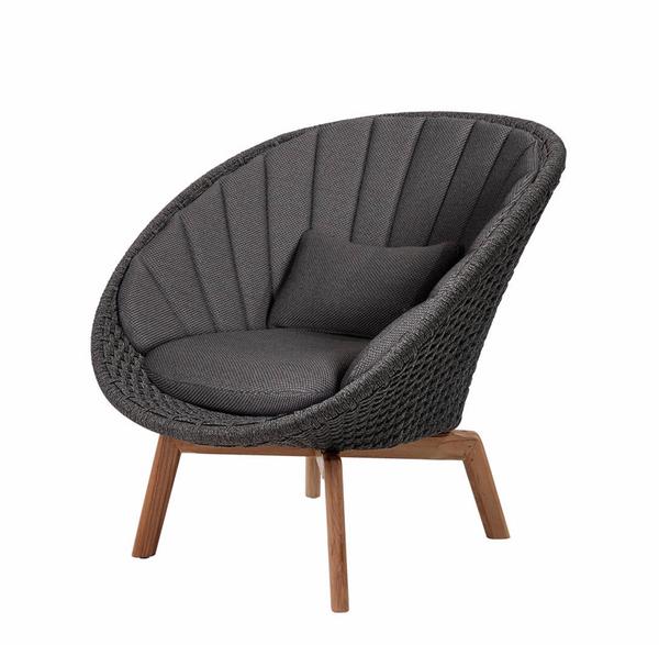 Bilde av Cane-Line Peacock lounge stol, soft rope (5458) dark grey, teak