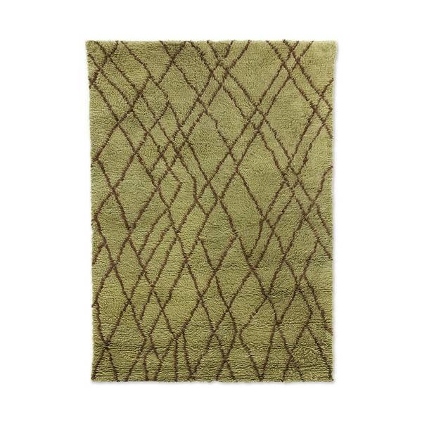 Bilde av HK living Olive woolen rug, brown zigzag